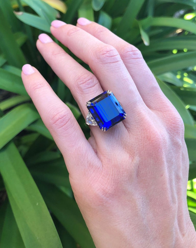 Tanzanite Emerald Cut Diamond Platinum Cocktail Blue Ring 20.51 Carat In New Condition For Sale In Beverly Hills, CA
