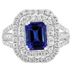 Tanzanite Emerald Cut Diamond Round Double Halo White Gold Fashion Cocktail Ring