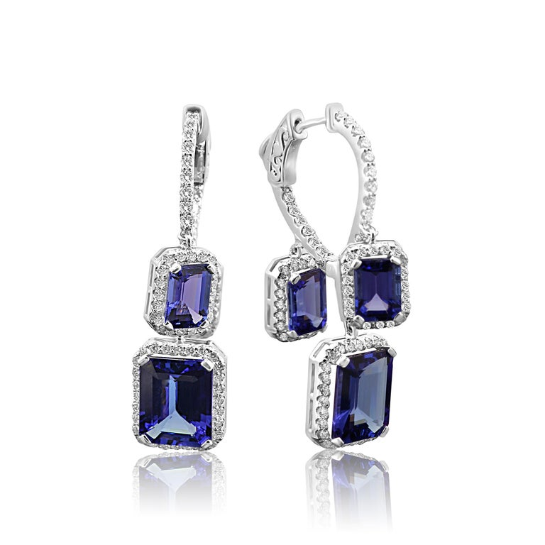 Modern Tanzanite Emerald Cut Diamond Round Halo Gold Dangle Drop Hoop Style Earring For Sale