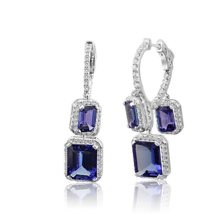 Tanzanite Emerald Cut Diamond Round Halo Gold Dangle Drop Hoop Style Earring In New Condition For Sale In NEW YORK, NY
