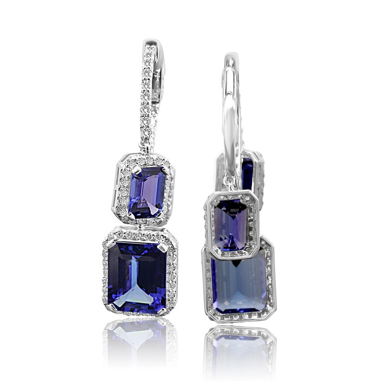 Tanzanite Emerald Cut Diamond Round Halo Gold Dangle Drop Hoop Style Earring For Sale 1