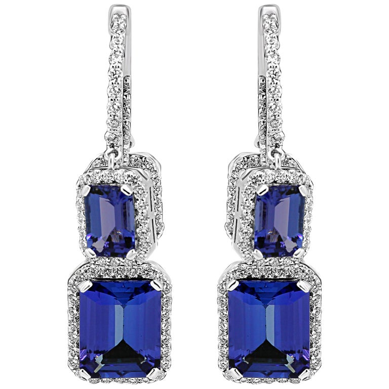 Tanzanite Emerald Cut Diamond Round Halo Gold Dangle Drop Hoop Style Earring For Sale