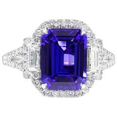Tanzanite Emerald Cut Diamond Round Three-Stone White Gold Bridal Fashion Ring