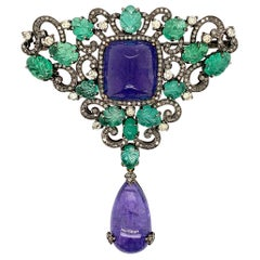 Tanzanite Emerald Diamond Designer Brooch Pendant
