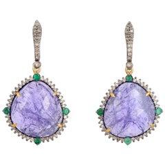 Tanzanite Emerald Diamond Earrings
