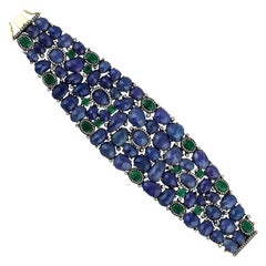 Tanzanite Emerald Diamond Statement Cuff