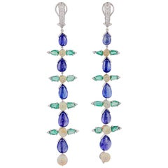 Tanzanite, Emerald, Opal and Diamond Earrings Studded in 18 Karat White Gold