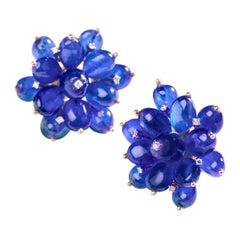 Tanzanite Flower Earrings in 14 Karat Gold with Diamonds
