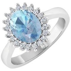 Aquamarine Gold Ring, 14 Karat Gold Aquamarine and Diamond Ring, 1.24 Carat