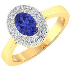 Tanzanite Gold Ring, 14 Karat Gold Tanzanite and Diamond Ring, 0.91 Carat