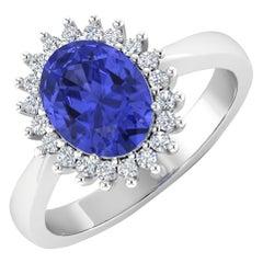 Tanzanite Gold Ring, 14 Karat Gold Tanzanite and Diamond Ring, 1.34 Carat