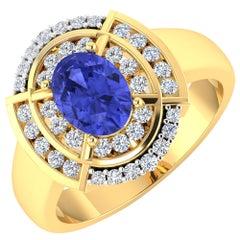 Tanzanite Gold Ring, 14 Karat Gold Tanzanite and Diamond Ring, 1.62 Carat
