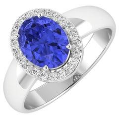 Tanzanite Gold Ring, 14 Karat Gold Tanzanite and Diamond Ring, 1.82 Carat