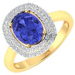 Tanzanite Gold Ring, 14 Karat Gold Tanzanite and Diamond Ring, 1.88 Carat