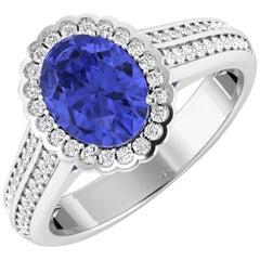 Tanzanite Gold Ring, 14 Karat Gold Tanzanite and Diamond Ring, 2.02 Carat