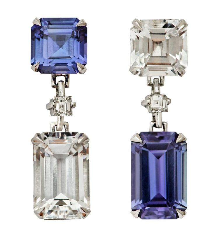 Contemporary Tanzanite and Goshenite Diamond Platinum Earrings For Sale