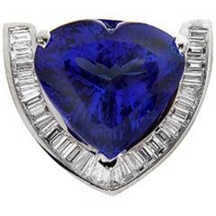 Tanzanite Heart-Shape Pendant with Diamonds by RayazTakat