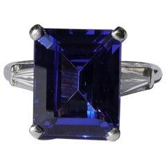 Tanzanite in Platinum Diamond Handmade Art Deco Engagement Ring
