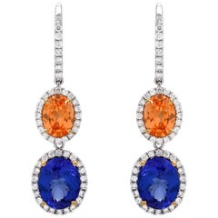 Mandarin Garnet Tanzanite Earrings 7.97 Carats Total
