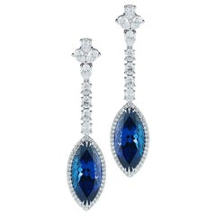 Tanzanite Marquise and Diamond Earring by Takat