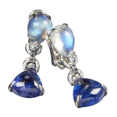 Veschetti Tanzanite, Moon Stone, Sapphire and Diamond Earrings