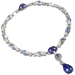 Veschetti Tanzanite, Moon Stone, Sapphire and Diamond Necklace