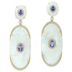 Tanzanite Mother of Pearl Diamond 18 Karat Gold Earrings