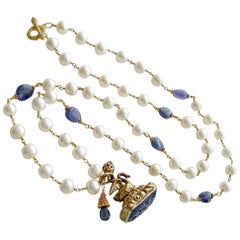 Tanzanite Nuggets and Freshwater Pearls Hand-Carved Tanzanite Swan Fob Necklace