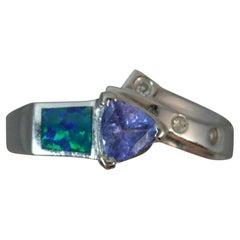 Tanzanite Opal Diamond 14 Carat White Gold Cluster Ring