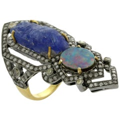 Tanzanite Opal Pave Diamond Ring in Silver and Gold