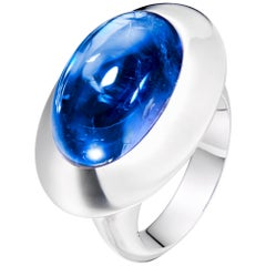 Tanzanite Oval Cabochon Cocktail Ring in 18 Karat White Gold