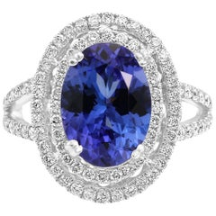 Tanzanite Oval Diamond Round Double Halo White Gold Fashion Cocktail Ring