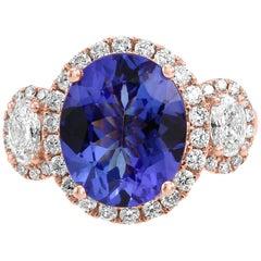 Tanzanite Oval White Diamond Halo Three-Stone Fashion Cocktail Rose Gold Ring