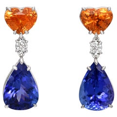 Mandarin Garnet Tanzanite Earrings 10.92 Carats