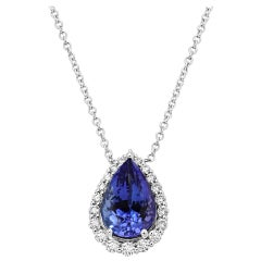Tanzanite Pear White Diamond Round Halo Gold Drop Pendant Chain Necklace
