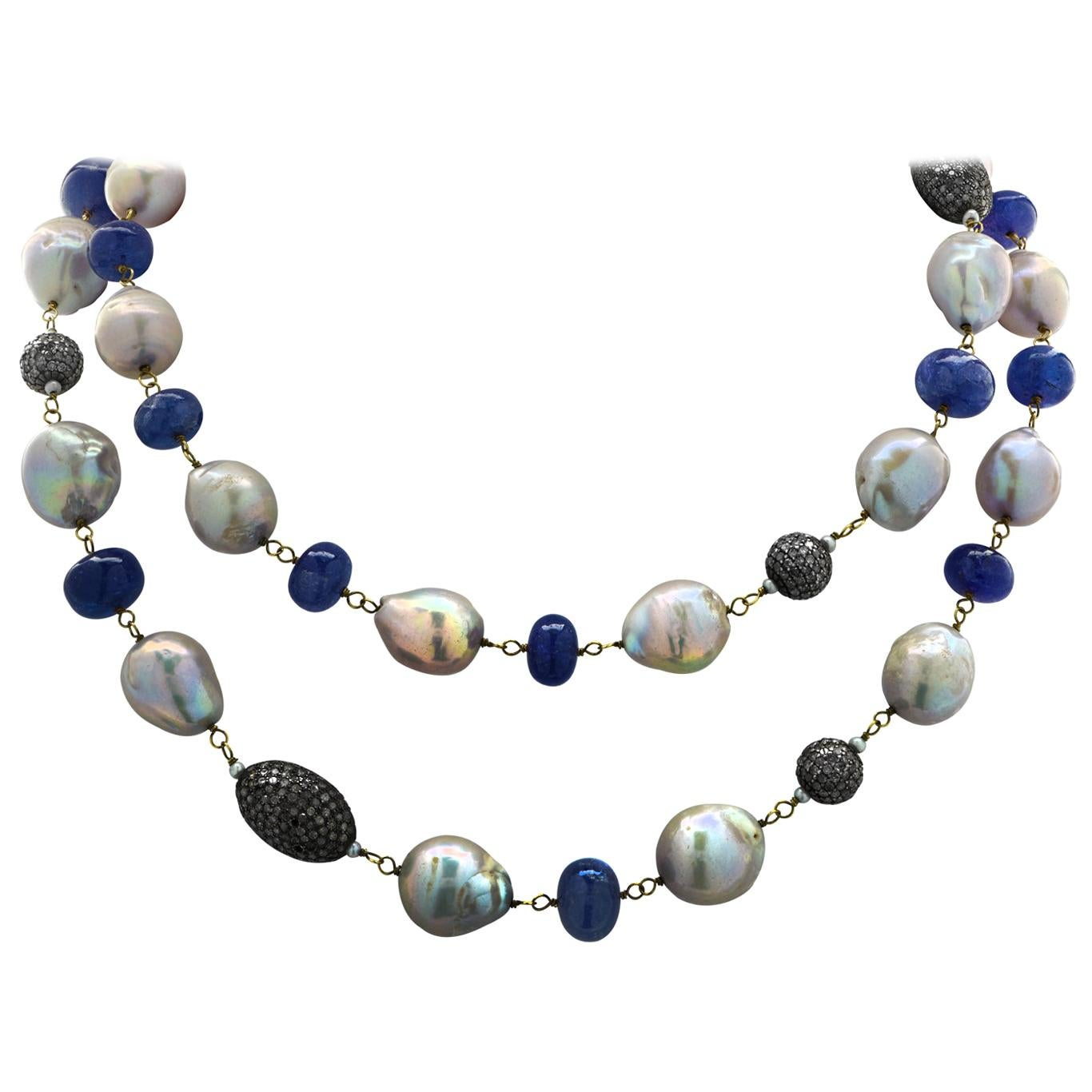 Tanzanite, Pearl and Diamond Opera Length Necklace