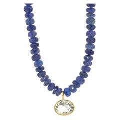 Tanzanite Pendant Gold Necklace with Rutilated Quartz