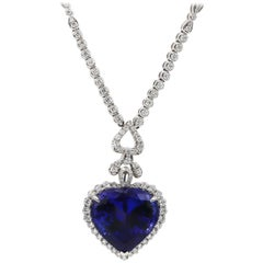 Tanzanite Pendant 31.33 Carat and Diamonds 5.81 Carat 18 Karat Gold