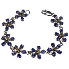 Tanzanite & Peridot Floral Bracelet