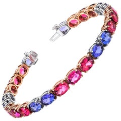 Tanzanite & Pink Rubellite Tourmaline 18k Rose & White Gold Tennis Bracelet