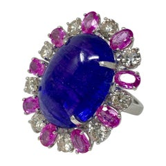 Tanzanite, Pink Sapphire and Diamond Ring in 14 Karat White Gold