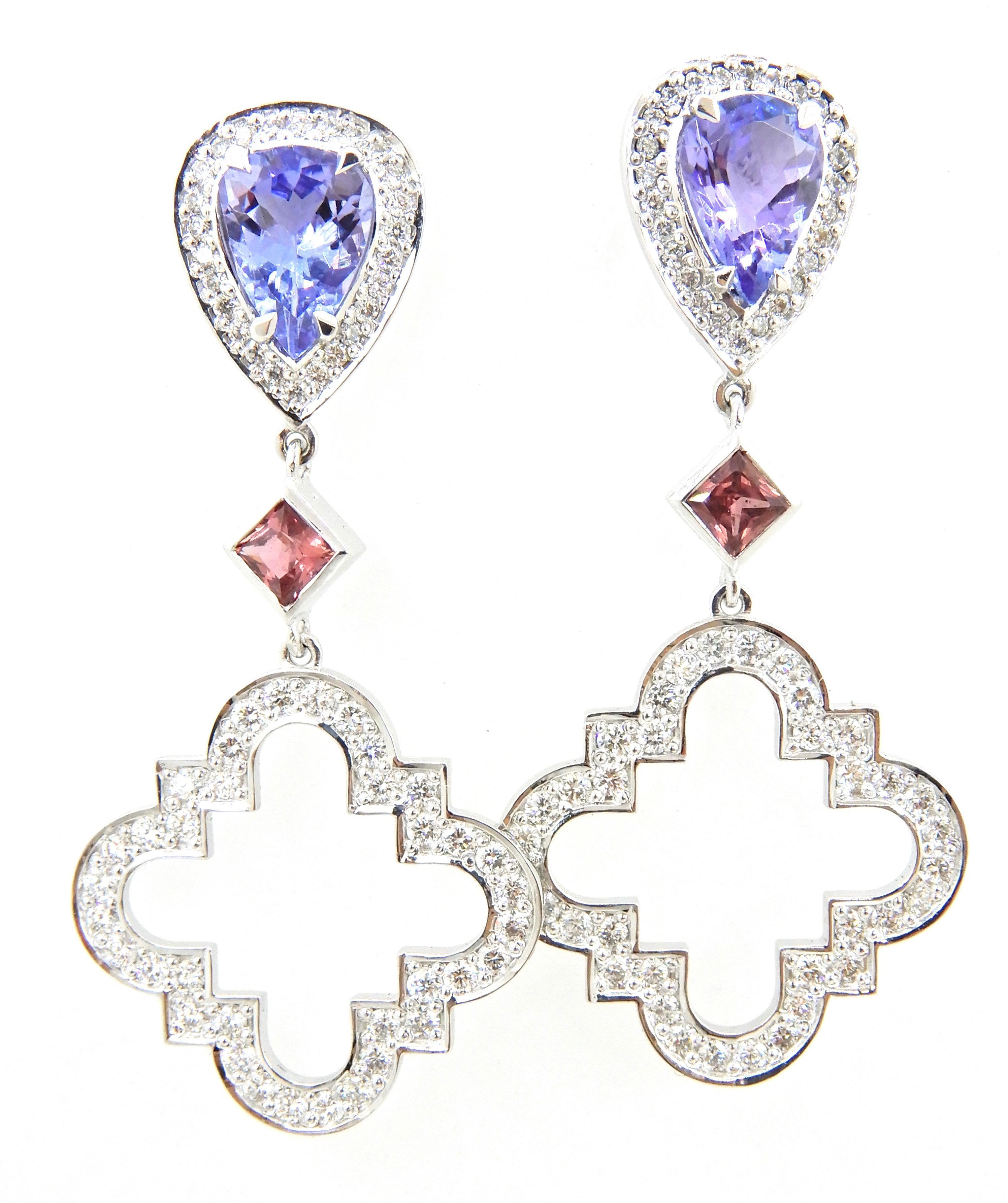 Tanzanite Pink Sapphire Diamond and 18 Carat White Gold Earrings