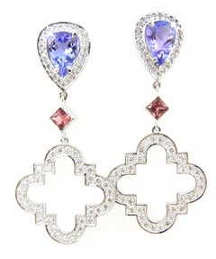 Tanzanite Pink Sapphire Diamond and 18 Carat White Gold Earrings
