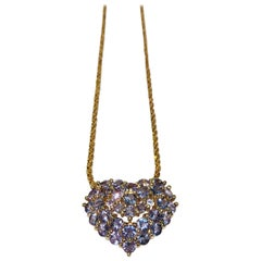Tanzanite Puffy Heart Pendant with Hidden Bale 14 Karat Yellow Gold with Chain