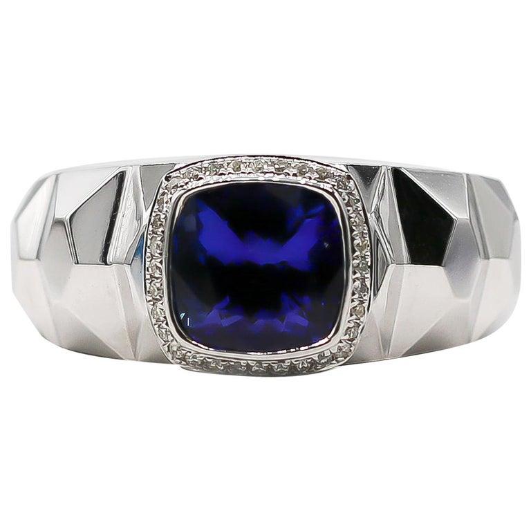 Tanzanite Ring 3.68 Carat with Diamonds 0.16 Carat 14 Karat Gold