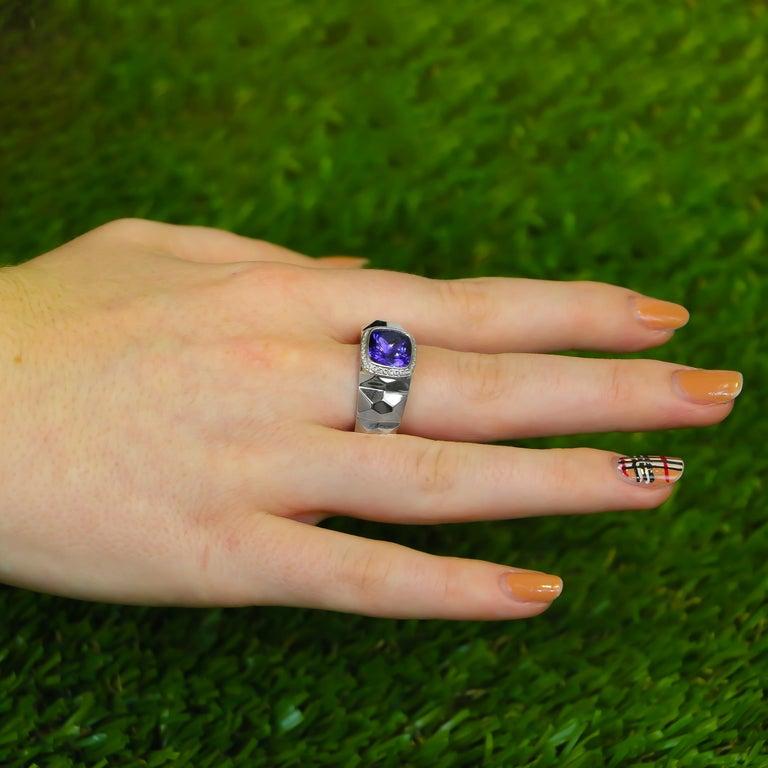 Mixed Cut Tanzanite Ring 3.68 Carat with Diamonds 0.16 Carat 14 Karat Gold