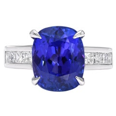 Tanzanite Ring Cushion Cut 6.80 Carats