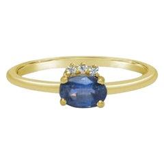 Tanzanite Ring, Minimalist Ring, Real Diamond, Solid Gold Ring, Dainty Rings 18K