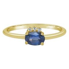 Tanzanite Ring, Minimalist Ring, Real Diamond, Solid Gold Ring, Dainty Rings
