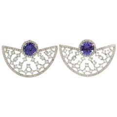 Tanzanite Rose Cut Diamond Stud Earrings in 18 Karat White Gold
